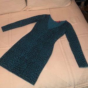 Betseyville by Betsey Johnson Blue Leopard Dress